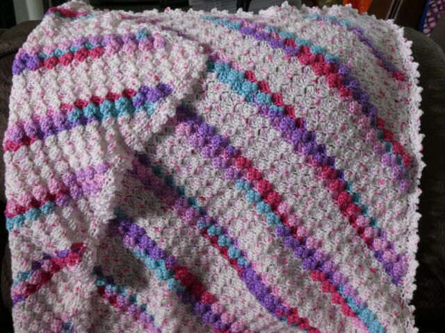 New! Handmade Crochet Blanket Lap Throw Afghan - white, pink, purple