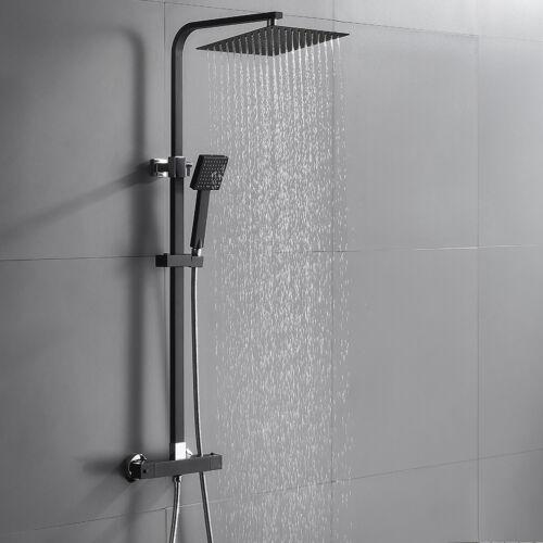 Duschsystem mit Thermostat Regendusche Duschset Duscharmatur Handbrause Schwarz