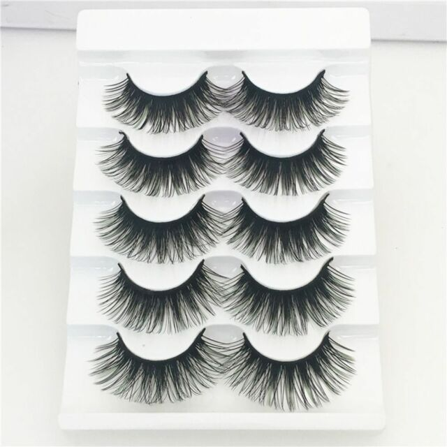 5Pairs 100% Real Mink 3D Volume Corner Thick False Eyelashes Adhesives Green