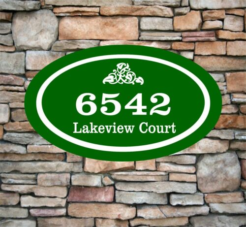 """Personalized Home Address Sign Aluminum 12/"""" x 7/"""" Custom House Number Plaque OV2"""