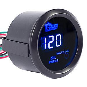 """Car Universal 2"""" 52mm Black Shell Digital Blue LED Oil Press Pressure Gauge PSI"""