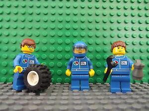 3 Lego Brand New Mini Figures Fig F1 Mechanics Formula 1 Set Wheel Accessories