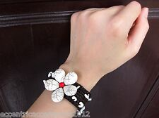 Handmade White Red Thailand Bracelet flower FAIRTRADE JEWELRY woven crafted
