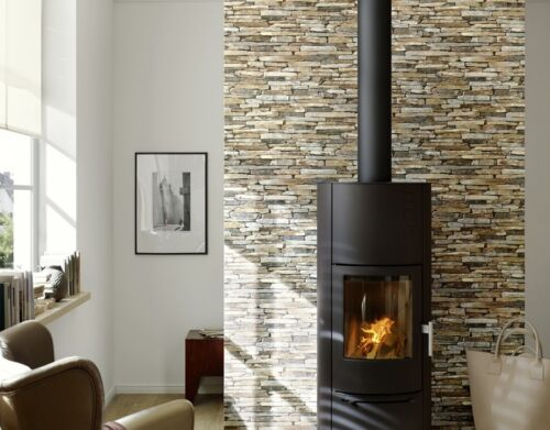REALISTIC DARK GREY DRY STONE WALL BRICK FEATURE WALLPAPER A.S.CREATION 9142-17