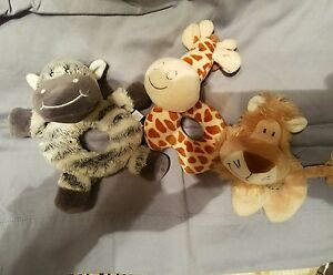 3-Plush-Baby-Rattles-Koala-Baby-Babies-Ready-US-Lion-Giraffe-Zebra
