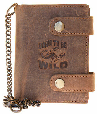 Men/'s biker/'s natural natural genuine leather wallet with shark with metal chain