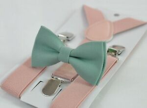 Sage-Green-Cotton-Bow-tie-Dusty-Pink-Suspenders-Braces-for-Men-Youth-or-Boy