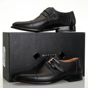 7803c6114d8a2 Details about Mezlan Jean Graphite Black Leather Monk Strap Oxfords - Men's  8.5 M