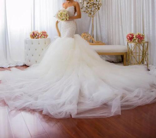 Custom lace crystal couture designer Wedding Dress - image 1