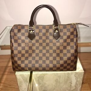 4c584e4e4760 Image is loading Authentic-Louis-Vuitton-SPEEDY-30-Damier-Ebene-Handbag-