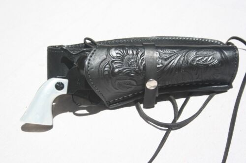 NEW Leather Holster and Belt Hand Tooled Embossed Leather Set JET BLACK 70203