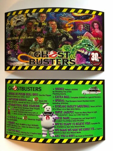 Ghostbusters Stern Pinball Apron Instruction Cards