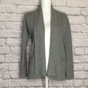 J-Crew-M-Cardigan-Sweater-Cashmere-Blend-Open-Front-Solid-Gray-Long-Sleeve