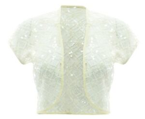 dcfe7298c9aaf Ladies New Cream Sequin Lace Bolero Shrug Top Size 14 16 18 20 22 24 ...
