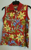 Women's Misses Havana Jack's Cafe Sz S Red Floral Stretch Sleeveless Polo Shirt