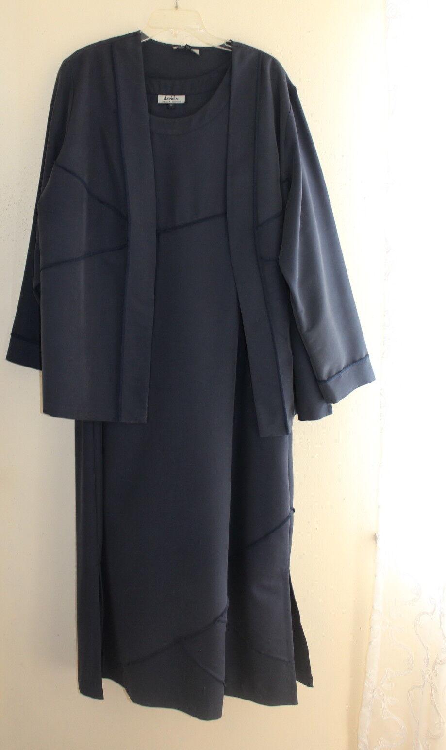 NEW DAVID N Sz 2X Elegant Navy Blau Lyocell Woven Dress + Jacket Set Duo