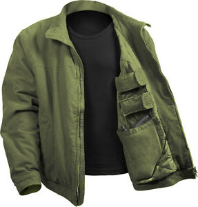 Image is loading Olive-Drab-Concealed-Carry-Padded-Military-Jacket 66415ae17e0