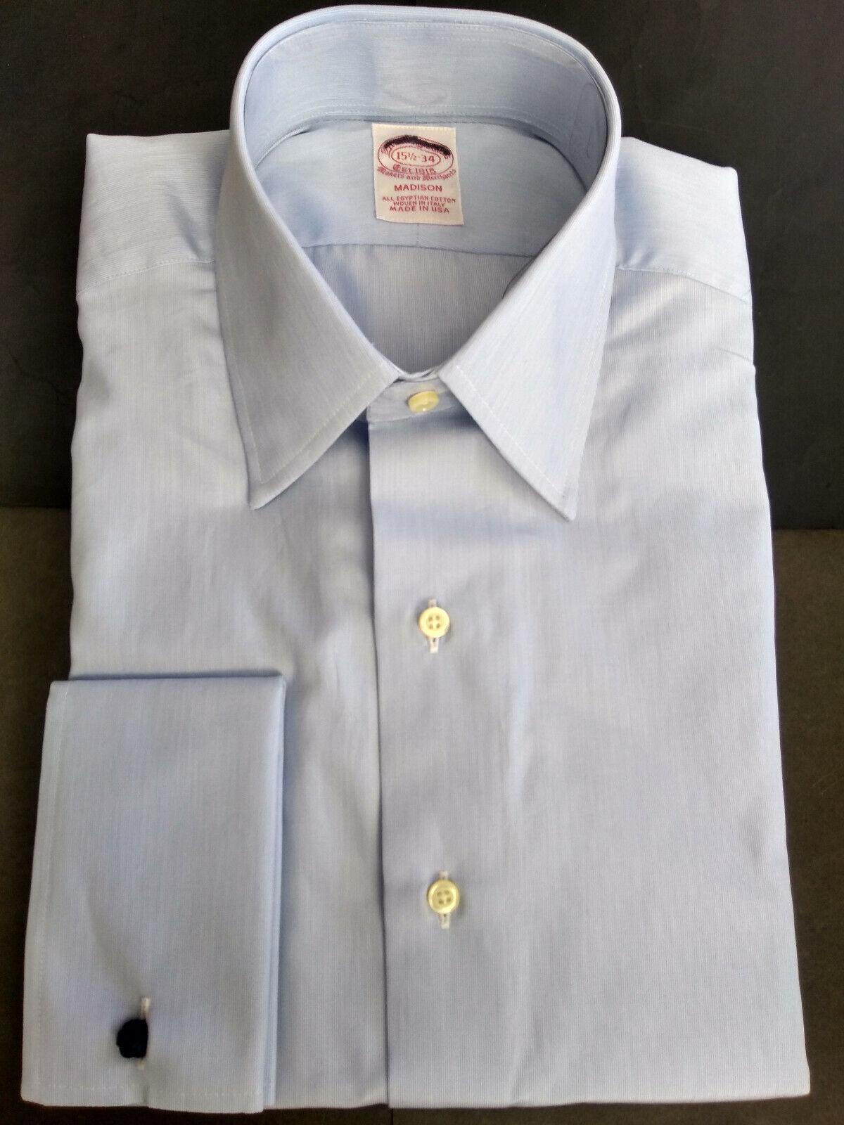 NWOT Brooks Brothers Blau Egyptian Cotton Shirt 15.5-34 Madison USA MSRP  185