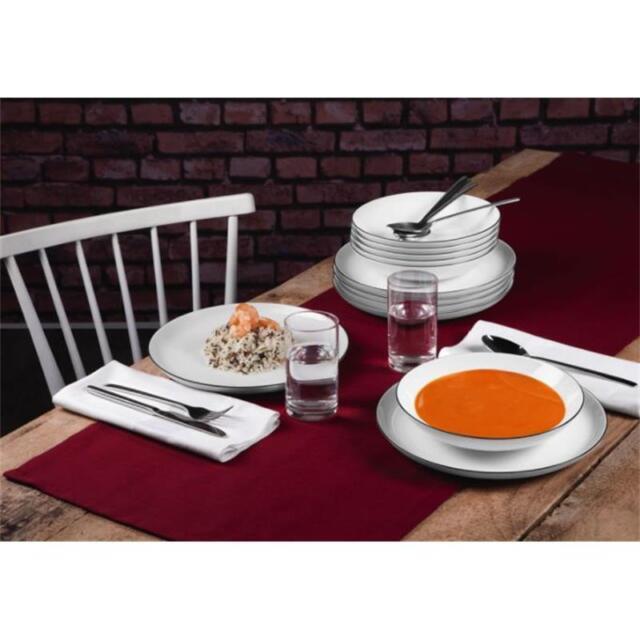 Tafelservice 12 teilig Seltmann Lido Black Line Suppenteller Speiseteller Tafel