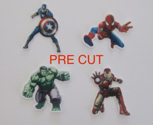 12 PRE CUT STAND UP STYLE SUPERHERO EDIBLE RICE WAFER PAPER CARD CUPCAKE TOPPER