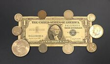 """1957 Great Coin and Currency Collection of Old Money """"Silver Coins in Every Lot"""""""
