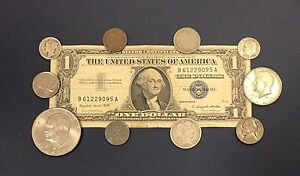 """1957 Great Coin and Currency Collection of Old Money /""""Silver Coins in Every Lot/"""""""