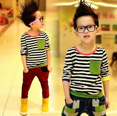 Kids Toddlers Boys Navy Style Cute Pocket Stripes Cotton Tops T-Shirts 3-8Y T222