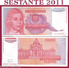 YUGOSLAVIA 1 BILLION 1000000000 1.000.000.000 DINARA Prefi AA 1993 P 126 FDS/UNC