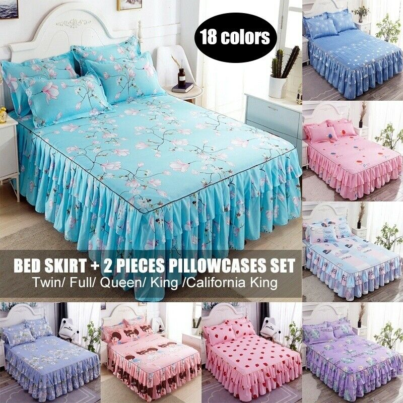 Cotton Flower Floral Bed Skirt Pillowcases Bedroom Bedding Full Queen King Size