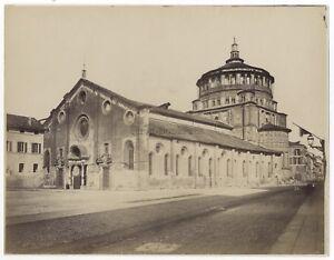 Basilique Saint-Ambroise Da Milan? Italia Foto Vintage Albumina c1880
