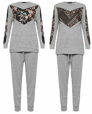 Aufstrebend Womens Lounge Wear Jogging Set Ladies Long Sleeve Floral Paisley Panel Tracksuit
