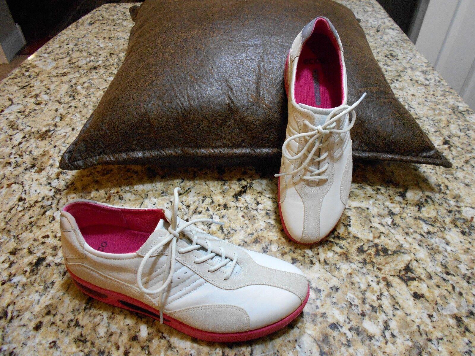 Damenschuhe ECCO Balance WEISS,Tan & Pink walking schuhe Größe 9-9.5 USA. 40 EUR