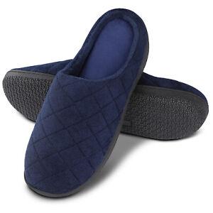 Men-039-s-Anti-Slip-Comfort-Memory-Foam-Slip-on-Winter-Slippers-Flat-Indoor-Shoes