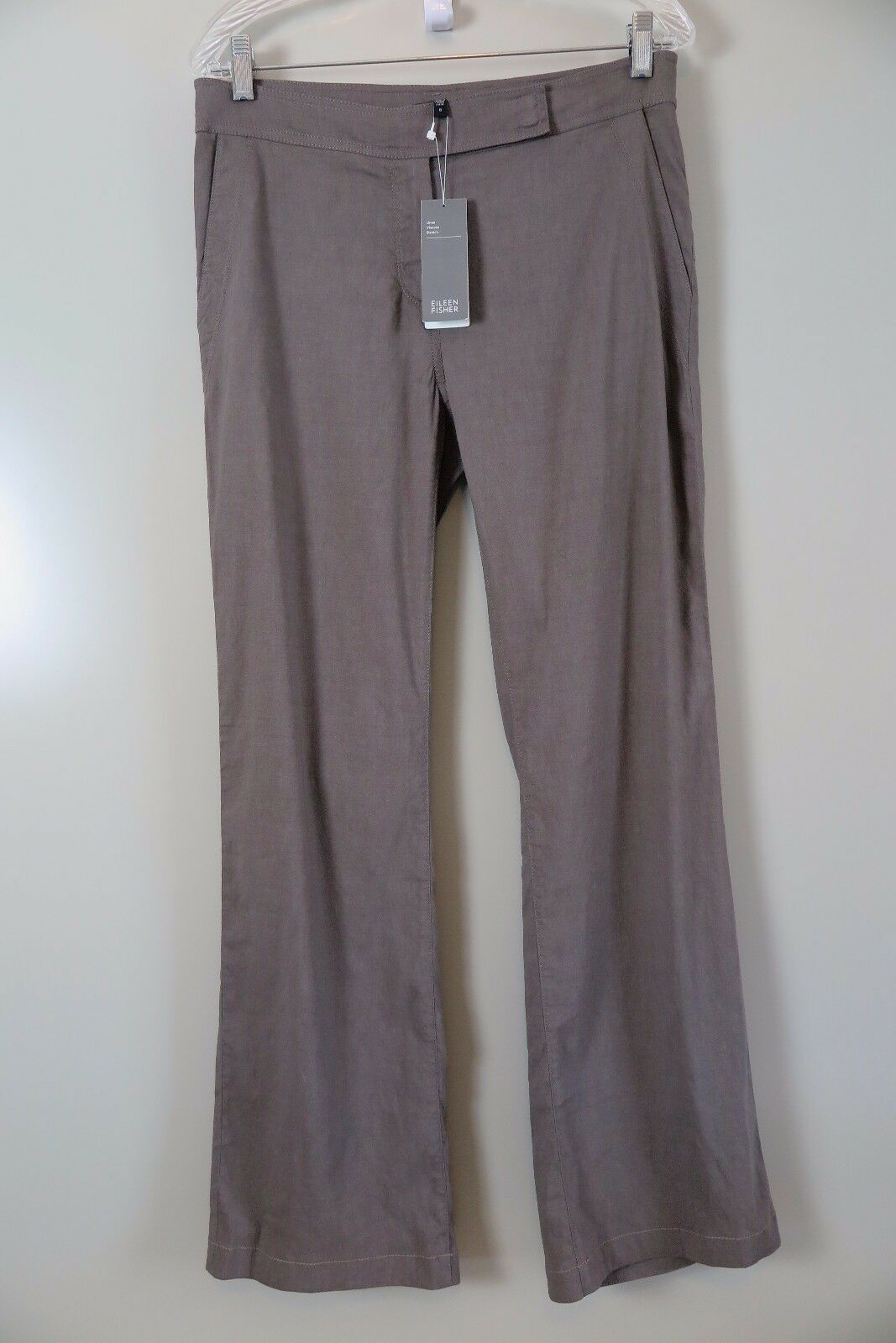 NWT Eileen Fisher Taupe Linen Viscose Stretch Straight Trousers Size 6