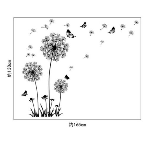 Creative PVC Black Wall Stickers Dandelion Decals for Living Room Bedroom TV Wal