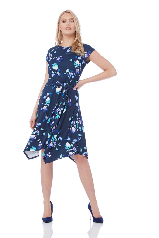 Roman Originals Women's Navy Hanky Hem Floral Print Dress Sizes 10-20