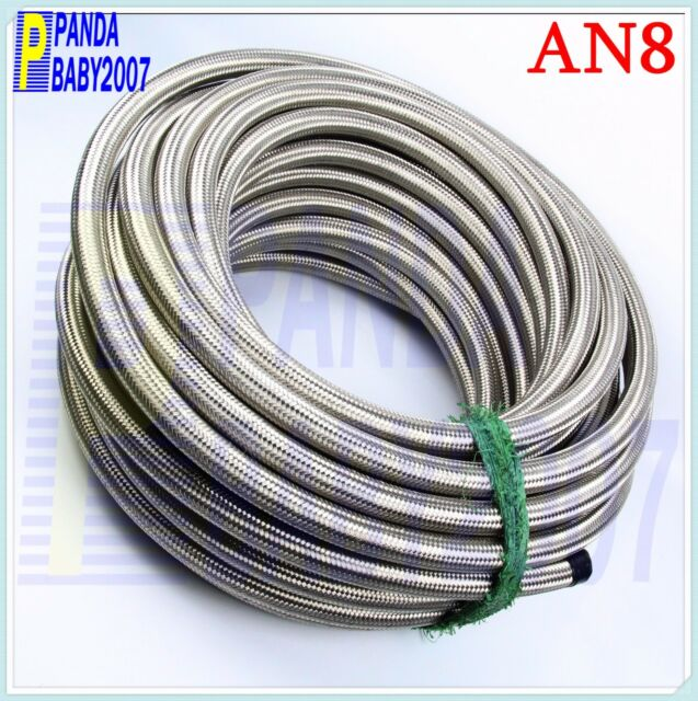 8AN -8 STAINLESS STEEL BRAIDED AN8 AN-8 OIL COOLER GAS WATER FUEL LINE HOSE 1FT