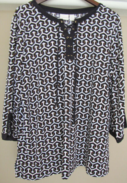 cf383cb6388 Chico's Tribal Geometry Lace up Tunic Top Size 3 16 18 XL 1x for ...
