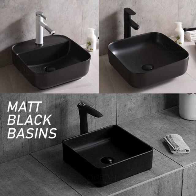 Matt Black Square Round Above Counter Top Ceramic Hand Wash Basin Bowl Vanity