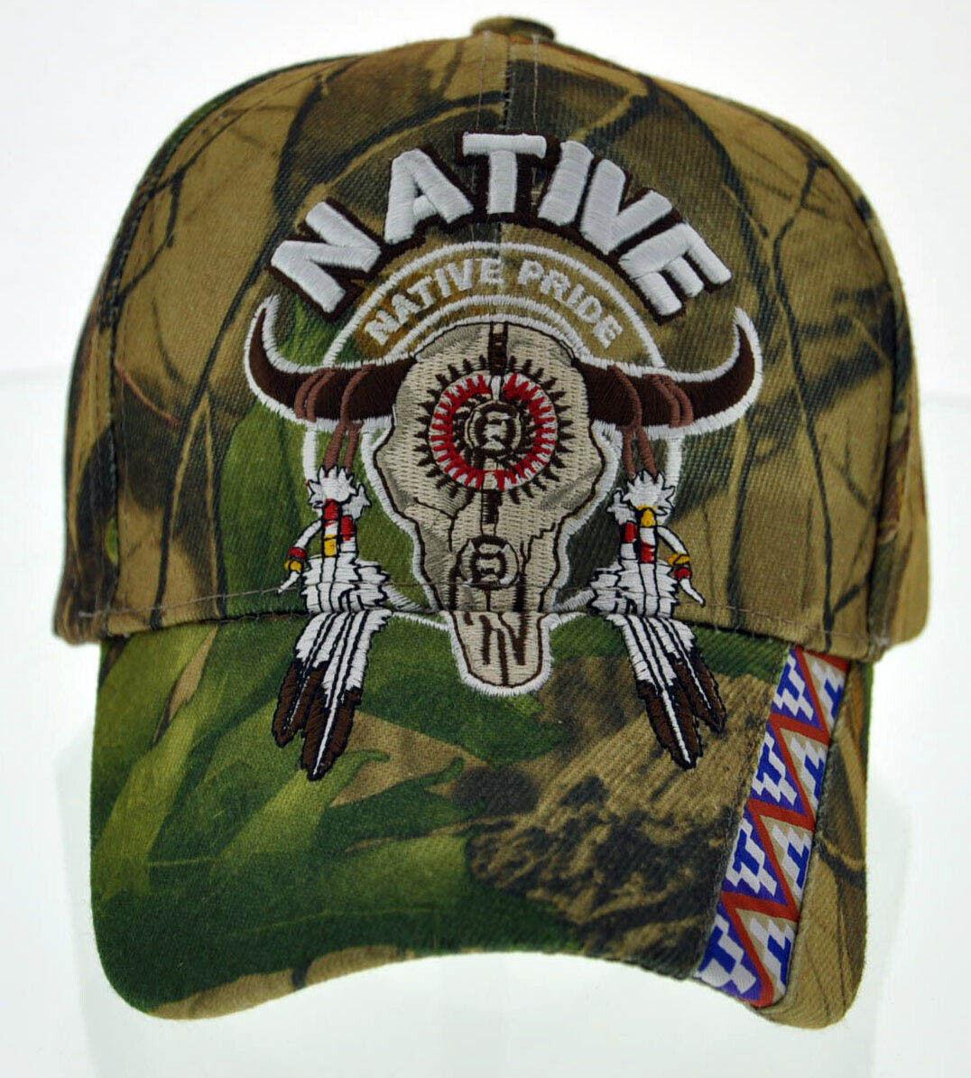 ! nuevo! indio nativo de orgullo lado americano Toro Cráneo plumas Gorra Sombrero Camo