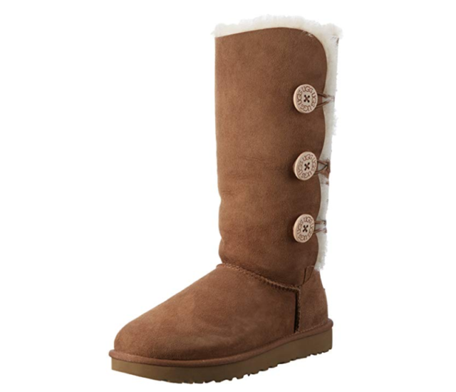 28026fa4399 UGG Australia Bailey Button Triplet II Chestnut Women Suede Sheepskin Tall  BOOTS 6