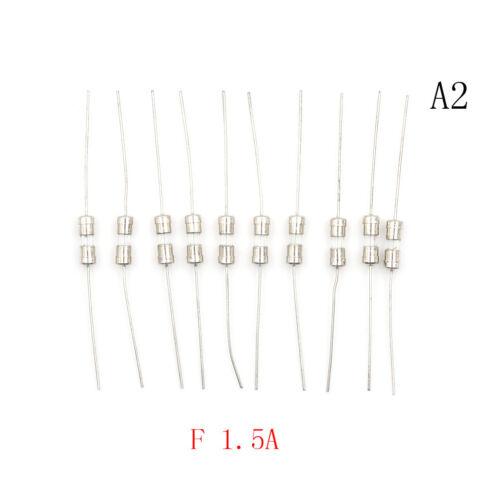 10pcs F1A//1.5A//2A//3A//5A Fast Blow Glass Tube Fuse Axial Leads 3.6 x 10mm 250V JK