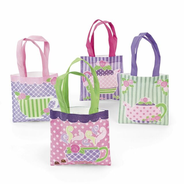 12 Birthday Everyday Party Favor MINI Goody Treat Tote Bags TEA PARTY Teacup