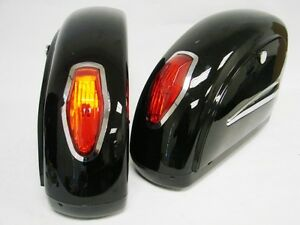 Black-Motorcycle-Touring-Cruiser-Hard-Saddlebags-Trunk-Lights-Luggage-w-Mounting