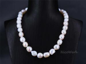 Perlenkette-Barockperle-10-11mm-Collier-Weiss-Echte-Perlen-Zuchtperlen-Kurz