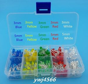 300pcs 3mm - 5mm LED Light White Yellow Red Green Blue Assorted Kit DIY LED Set