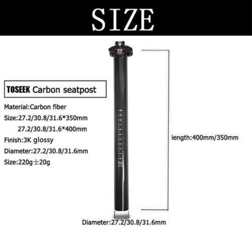"TOSEEK Carbon Fiber MTB Cycling Bike Seatpost 27.2//30.8//31.6/"" Plain Seatposts"