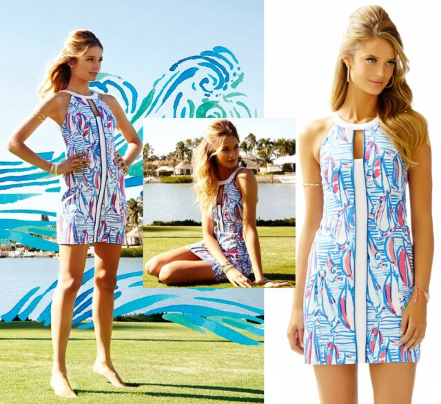 NWT Lilly Pulitzer Pearl Resort White Red Right Return Sailboat Shift Dress
