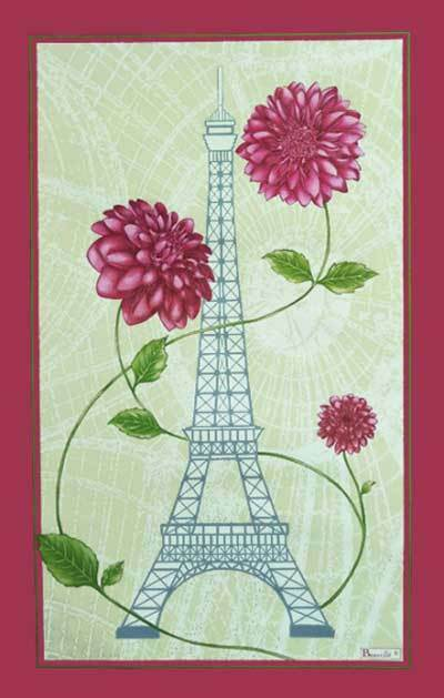 BEAUVILLE Tea Towel PARIS FLEURS Flowers Eiffel Tower + French CANDY FREE GIFT