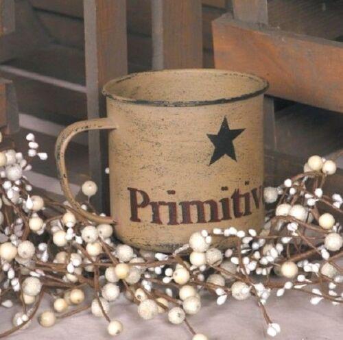 "Primitive Country Rustic /"" PRIMITIVE /"" Decorative Tin Mug"